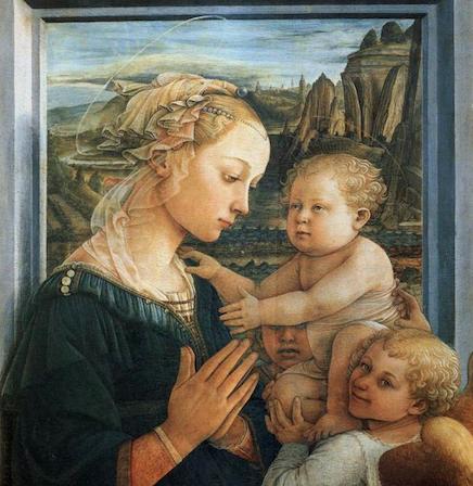 Vierge à l'enfant et deux anges (1465). Tempera sur bois, 95 × 62 cm, Galerie des Offices, Florence. (détail)