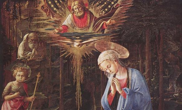 L'adoration dans la forêt (v. 1460). Tempera sur bois, 127 × 116 cm, Staatliche Museen, Berlin. (détail)