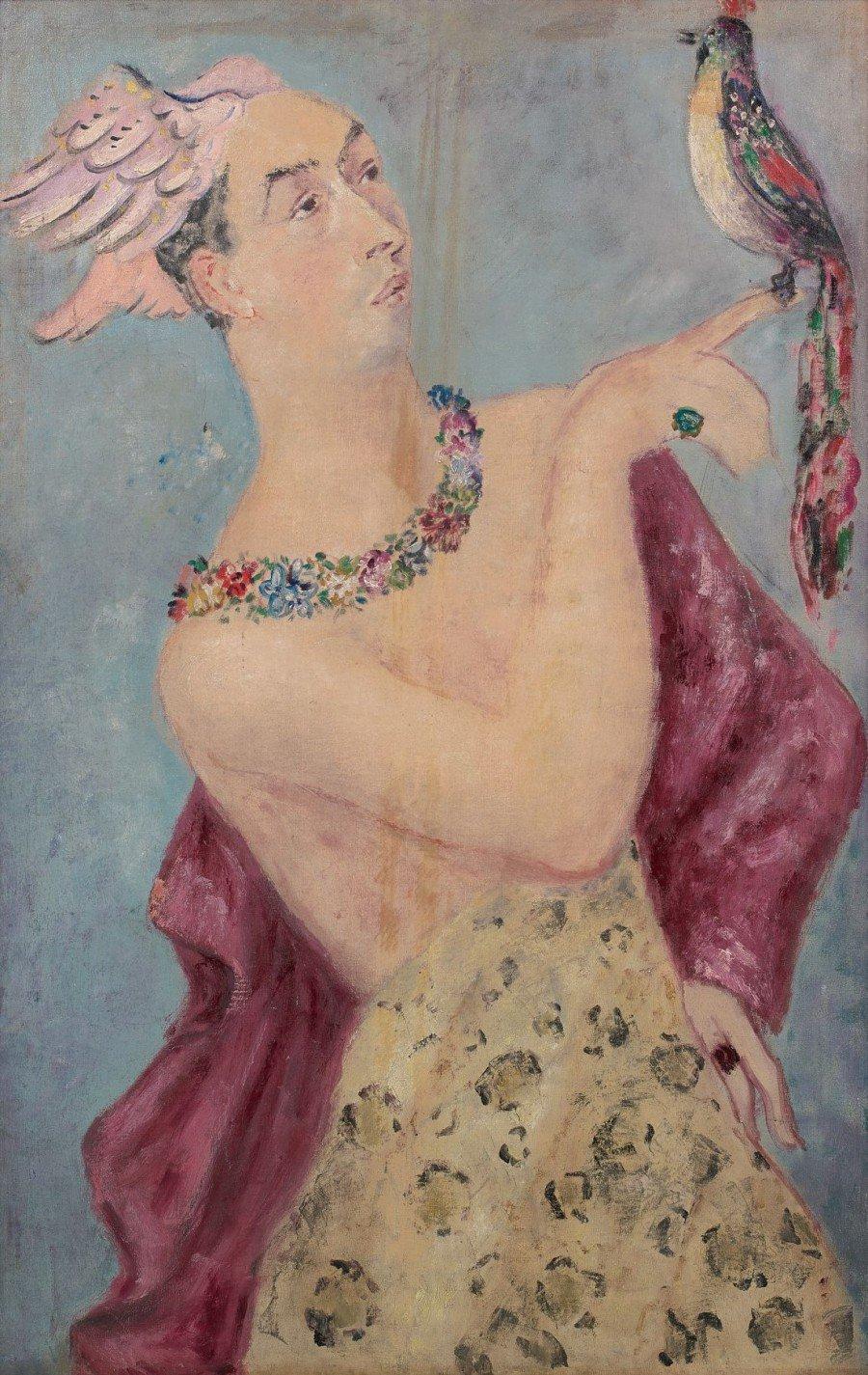 Hermès ou Le travesti à l'oiseau, par Leonor Fini, huile sur toile, 1932