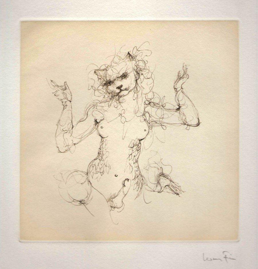 La nyctalida Ganika (Les Etrangers, par Leonor Fini, gravure, 1976