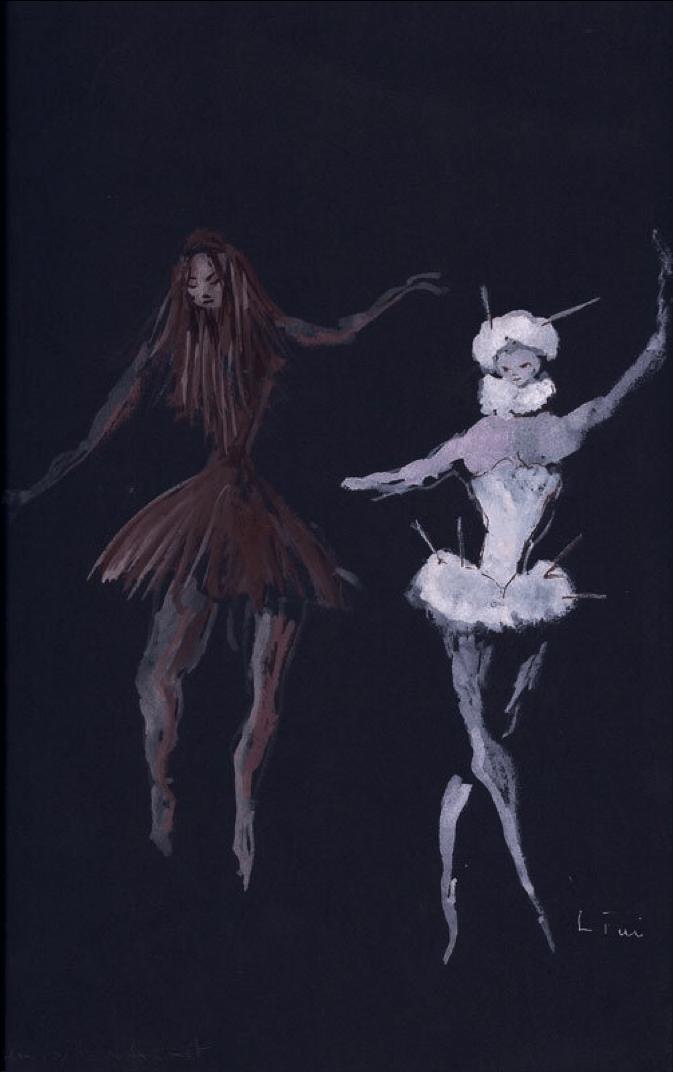 Costumes de théâtre pour « Demoiselles de la nuit » par Leonor Fini, gouache sur papier noir, 1948