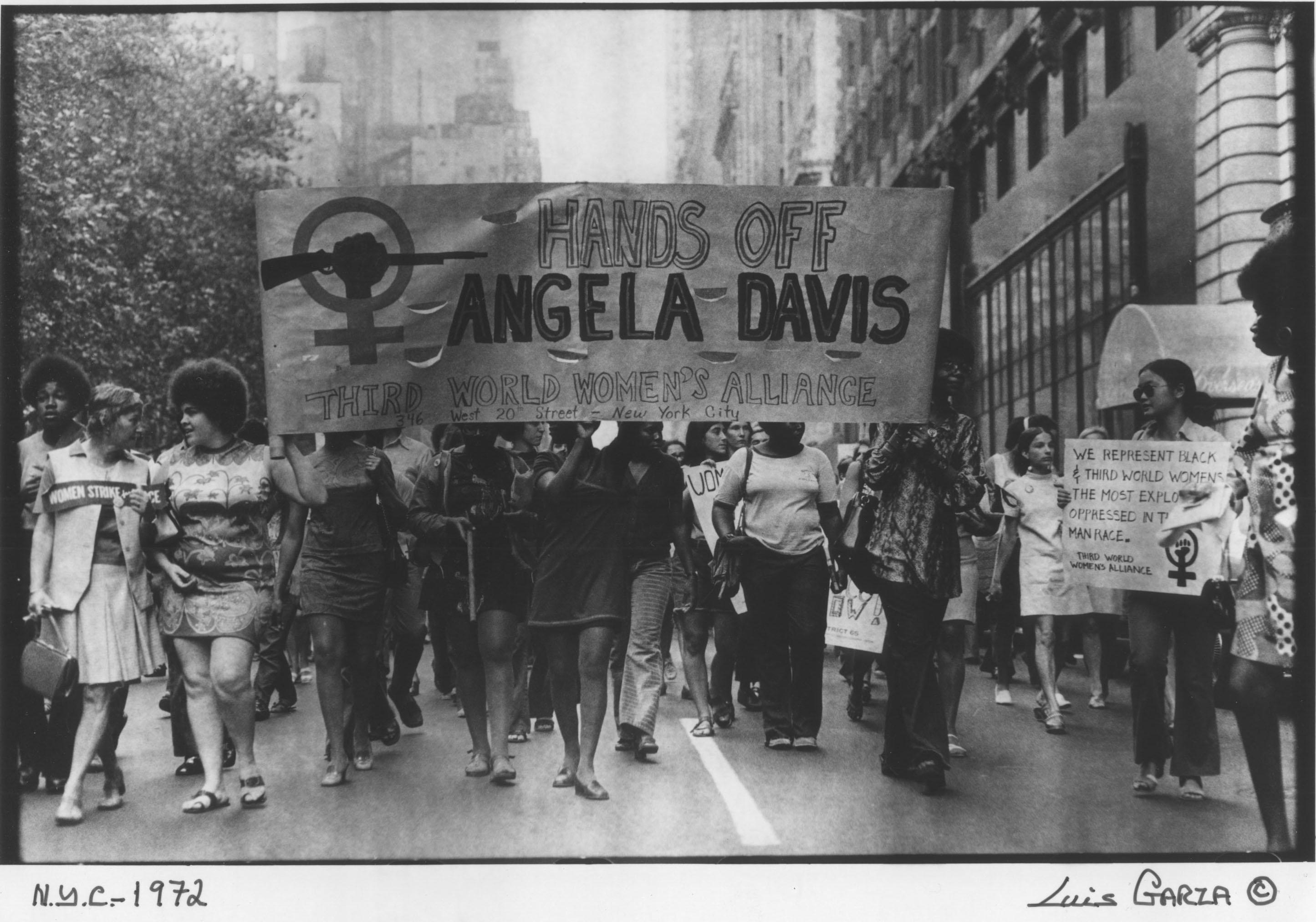 Manifestation pour la libération d'Angela Davis, photographie de Luis Garza, New-York, 1972