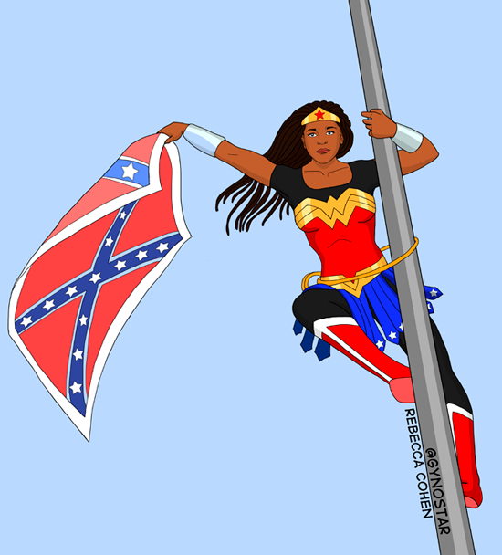 Bree Newsome dessinée par Rebecca Cohen, la femme qui a décroché le drapeaux des États confédérés d'Amérique devant le parlement de Caroline du Sud à Colombia, samedi 27 juin 2015. ©