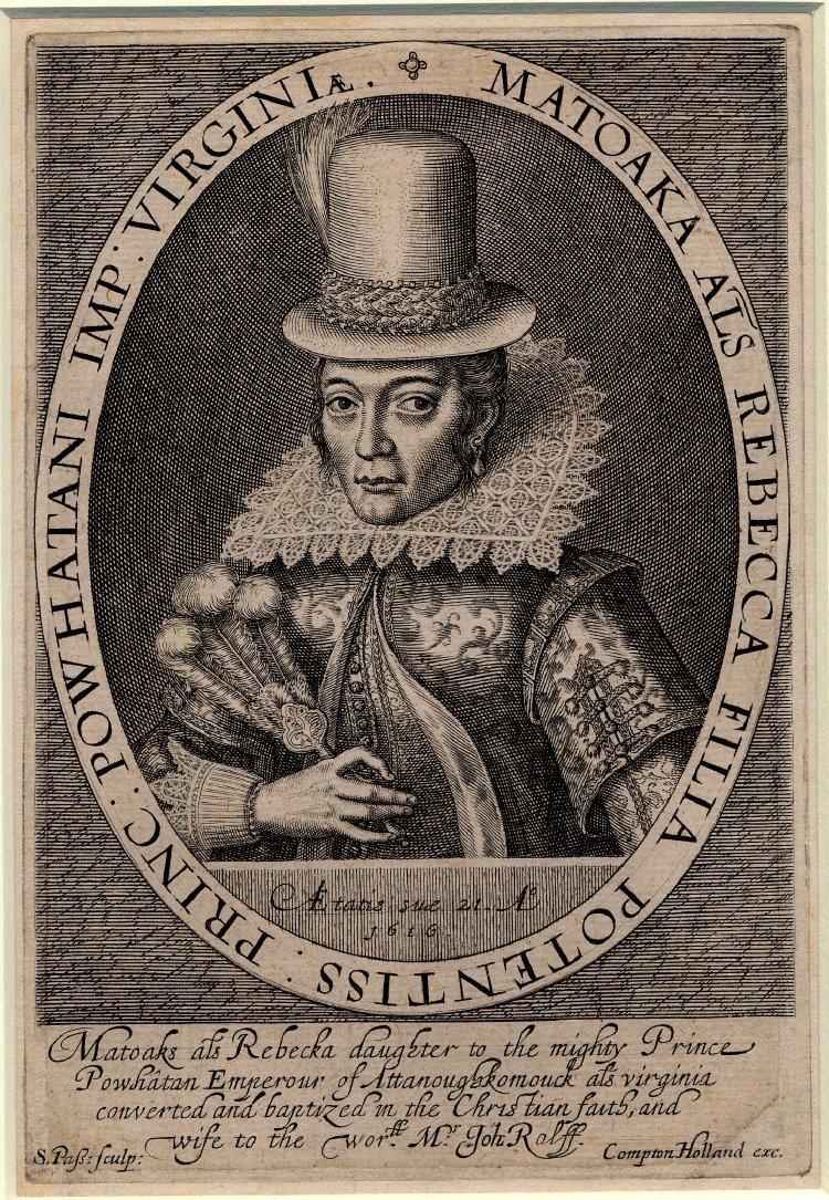 Pocahontas, également appelée Rebecca, vêtue d'une robe européenne, vers 1617, par Simon van de Passe.