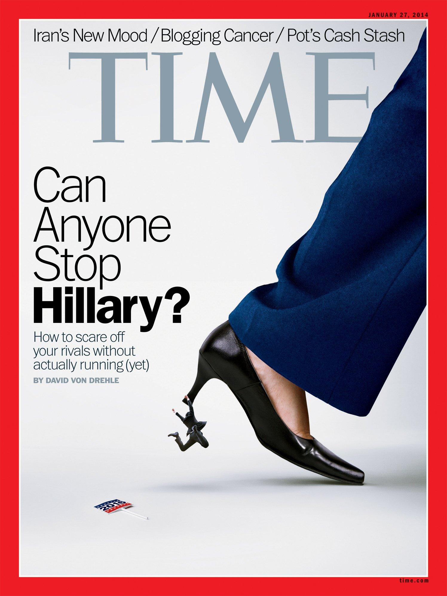 La couverture du Time Magazine du 27 janvier 2014 utilise, comme beaucoup d'autres journaux, le talon pour figurer une féminité écrasante, habituellement associée aux working girls. © Justin Metz