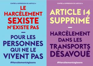 """Affiches réalisées par Anaïs Bourdet, en réaction à la suppression de l'article 14 relatif aux mesures contre """"le harcèlement et les violences sexistes"""" dans les transports."""