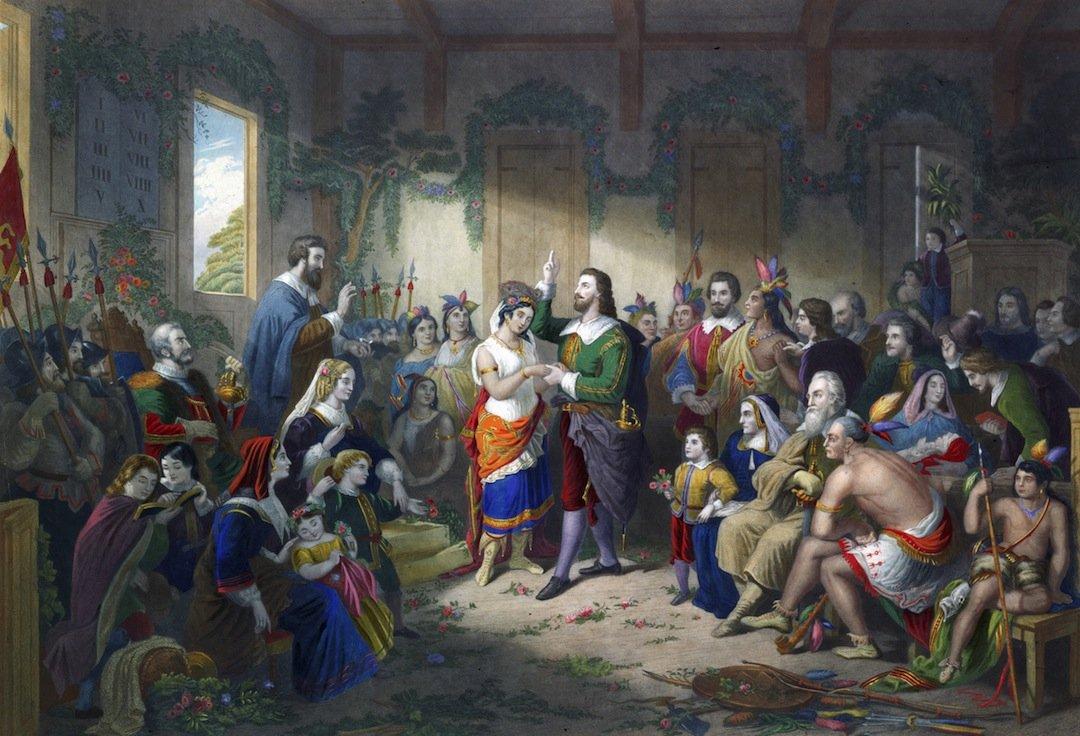 Le mariage de John Rolfe (1585-1622) et de Pocahontas, en 1614. D'après une peinture de Henry Brueckner, vers 1855.