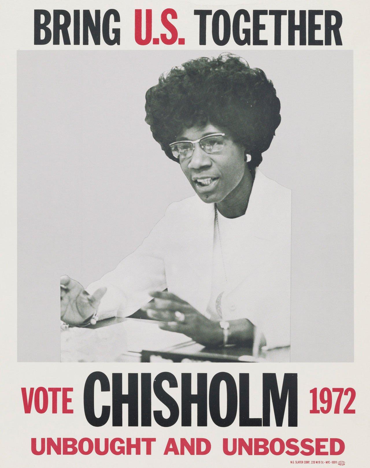 Affiche de Shirley Chisholm, candidate à l'élection présidentielle américaine de 1972 pour le parti démocrate.