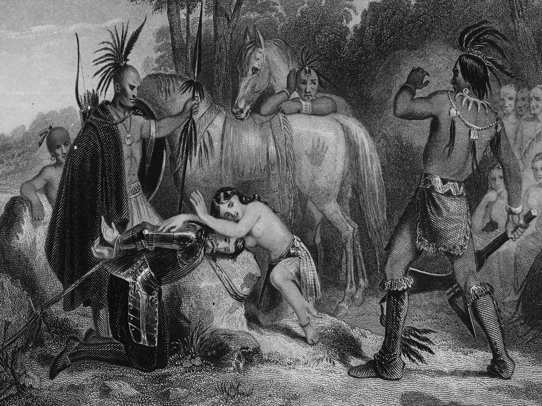 Pocahontas sauvant la vie de John Smith, vers 1607. © Hulton Archive/Getty Images