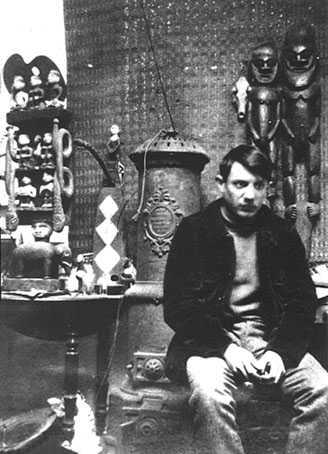 Picasso dans l'atelier du Bateau-lavoir.