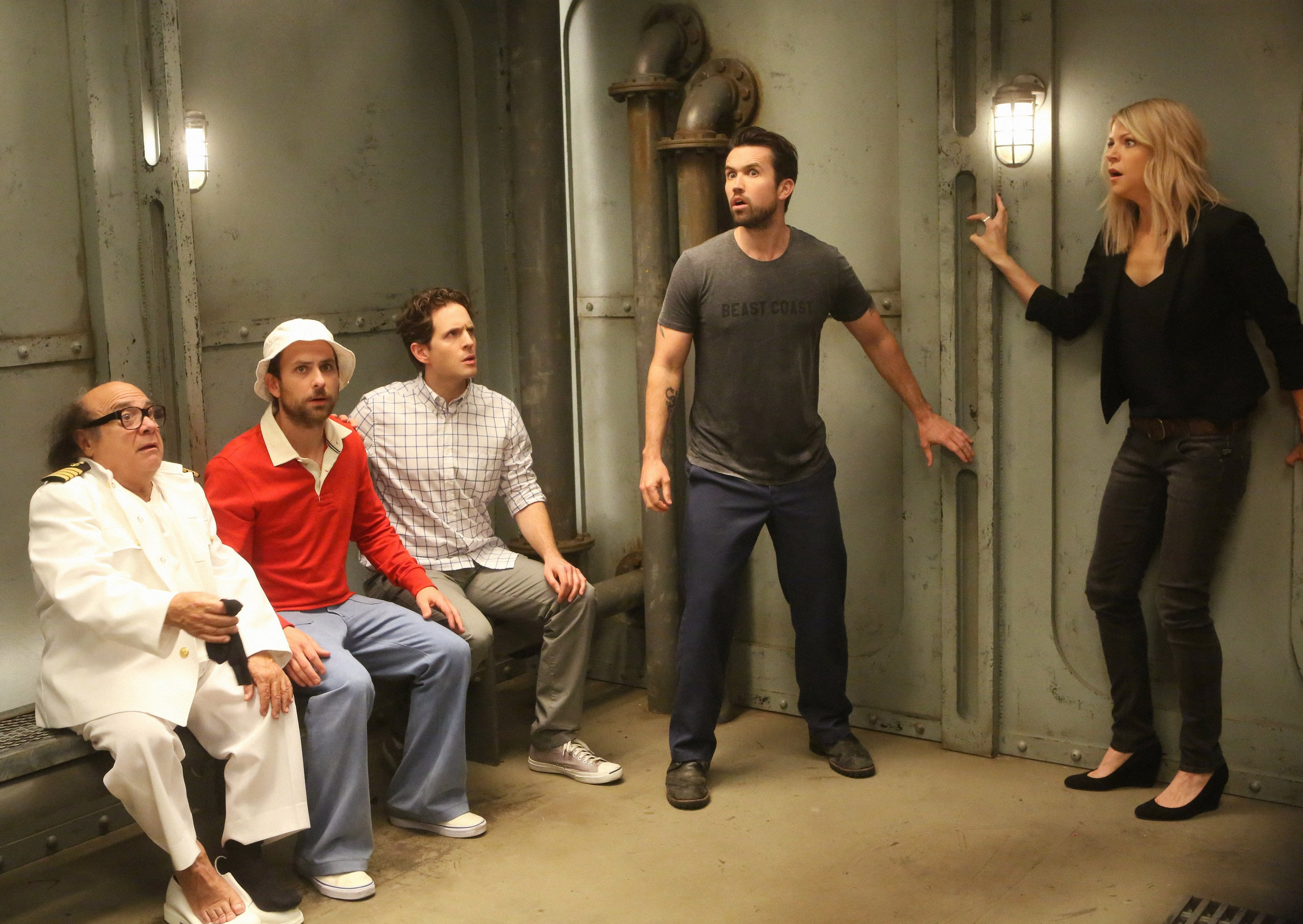 "IT'S ALWAYS SUNNY IN PHILADELPHIA -- ""The Gang Goes To Hell: Part 2"" -- Episode 1110 (Airs Wednesday, March 9, 10:00 pm e/p) Pictured: (l-r) Danny DeVito as Frank, Charlie Day as Charlie, Glenn Howerton as Dennis, Rob McElhenney as Mac, Kaitlin Olson as Dee. CR: Patrick McElhenney/FX"