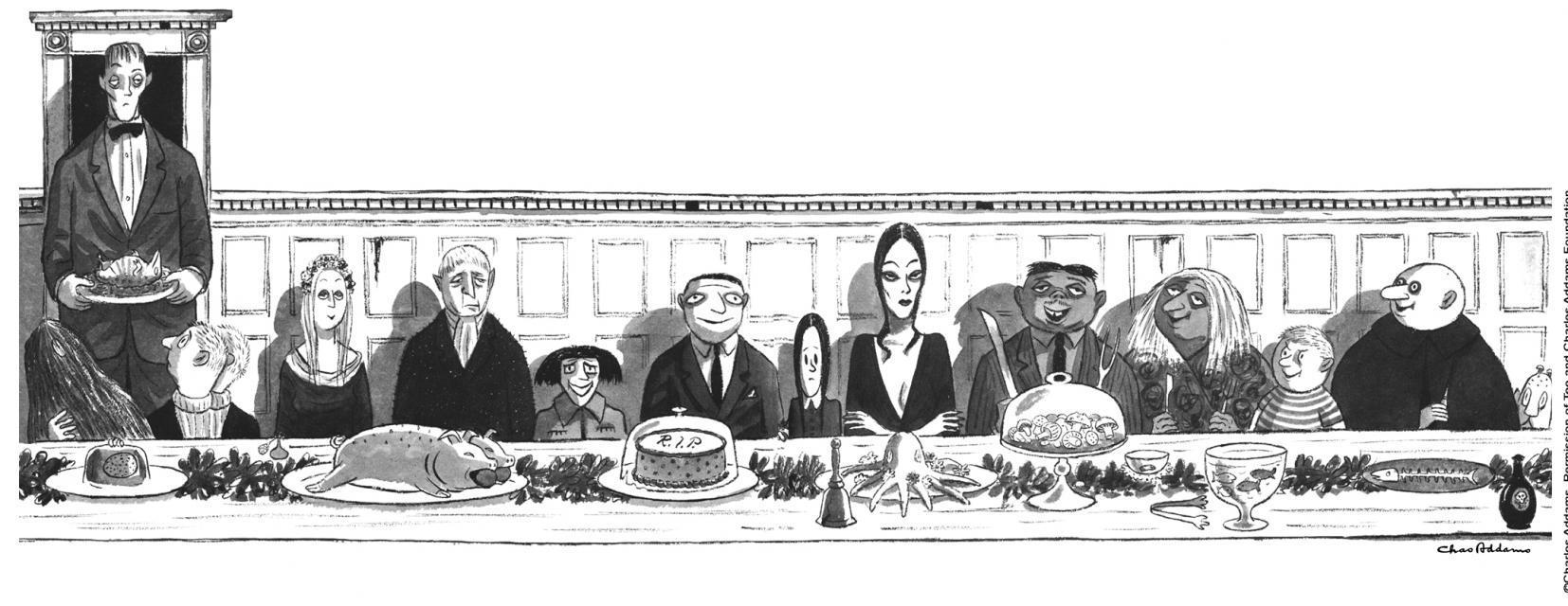Illustration de la famille Addams par Charles Addams.